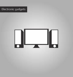 Black and white style icon computer speakers vector