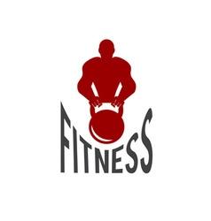Bodybuilder fitness model with kettlebell vector