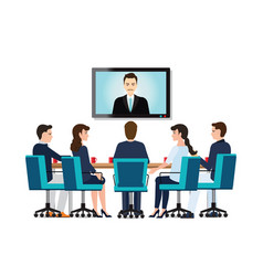 business people attending videoconference meeting vector image