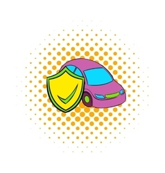 Car insurance icon comics style vector