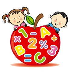 Children with an apple that contains numbers and l vector image