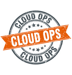 Cloud ops round grunge ribbon stamp vector