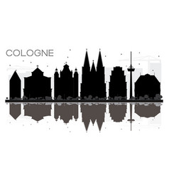 Cologne germany city skyline black and white vector