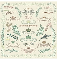 Colorful Hand Drawn Floral Design Elements vector image