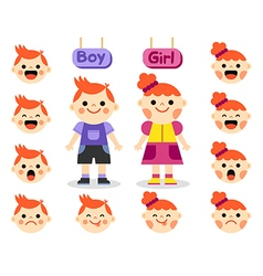 Cute girl and boy with different emotions vector image