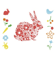 Easter bunny and floral elements vector