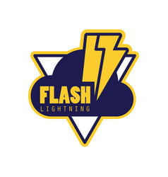 flash lightning logo badge with lightning symbol vector image