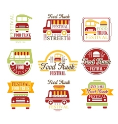 Food truck cafe street food promo signs set of vector