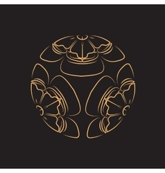 Golden Flower of melon on black background tattoo vector image
