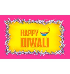 Happy diwali background with diya and firecracke vector