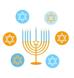 Jewish Holiday Happy Hanukkah card design vector image