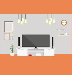 Living-room with tv modern design home set vector