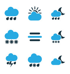 Meteorology colored icons set collection of vector