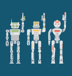 robot flat icons set machine technology ai vector image vector image