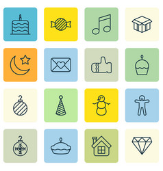 Set of 16 holiday icons includes winter open vector