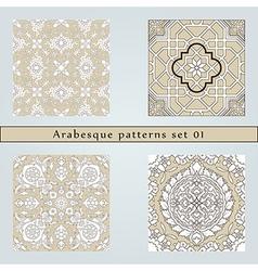 Set of four arabesque seamless pattern vector