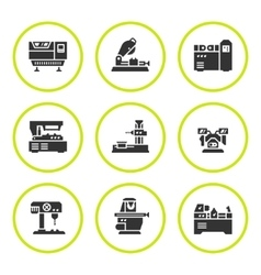 Set round icons of machine tool vector image vector image