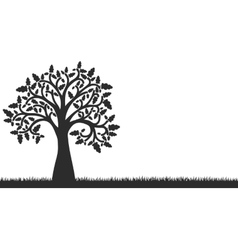 silhouette of oak tree with leaves and grass vector image vector image