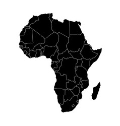 simple flat black map of africa continent with vector image