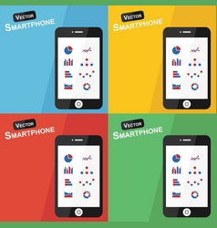 Smartphone with stat icon on different background vector