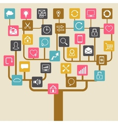 Social network tree background of SEO internet vector image