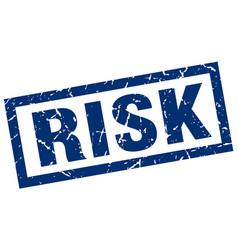 Square grunge blue risk stamp vector