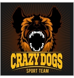 Stylized dog head - crazy dogs vector