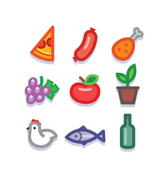 stylized food icons vector image vector image