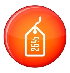 Tag with 25 discount icon flat style vector