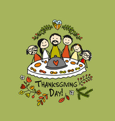 Thanksgiving day family together have a dinner vector