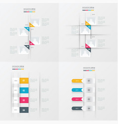 timeline 4 item yellow blue pink color vector image vector image