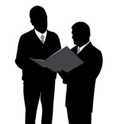 two businessmen looking at a new project plan vector image vector image