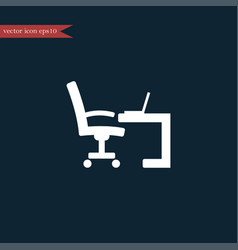 workplace icon simple furniture sign vector image
