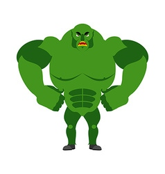 Angry ogre Aggressive Green Troll on white vector image