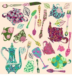 Patch silhouettes for scrap booking of tea theme vector