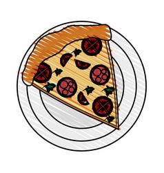 color crayon stripe cartoon slice pizza with vector image