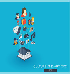 Culture and art integrated 3d web icons growth vector