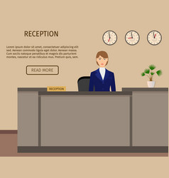 Hotel reception desk business office concepr vector