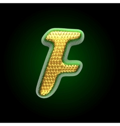 Golden and green letter f vector