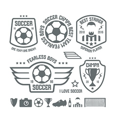 Set of soccer emblems and icons vector