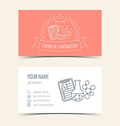 Red business cards for chemical laboratory and vector