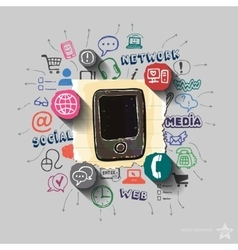 Smartphone and collage with web icons background vector
