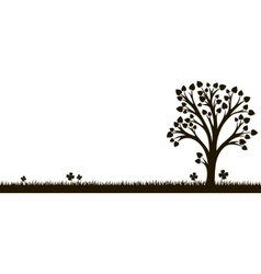 Silhouette of tree with leaves at grass vector