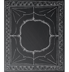 Chalk painted frame on black background vector