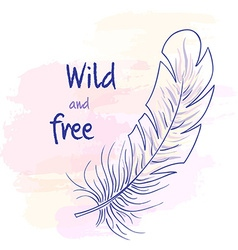Printable hand drawn with feather on watercolor vector