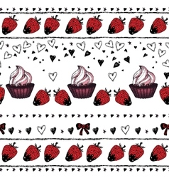Romantic seamless pattern valentine day border vector