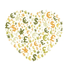 Abstract money heart vector image vector image