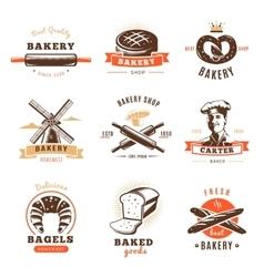 Bakery shop emblem set vector