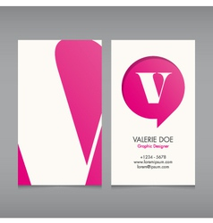 Business card template letter V vector image vector image