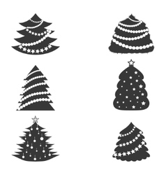 Christmas Trees with Garlands vector image vector image
